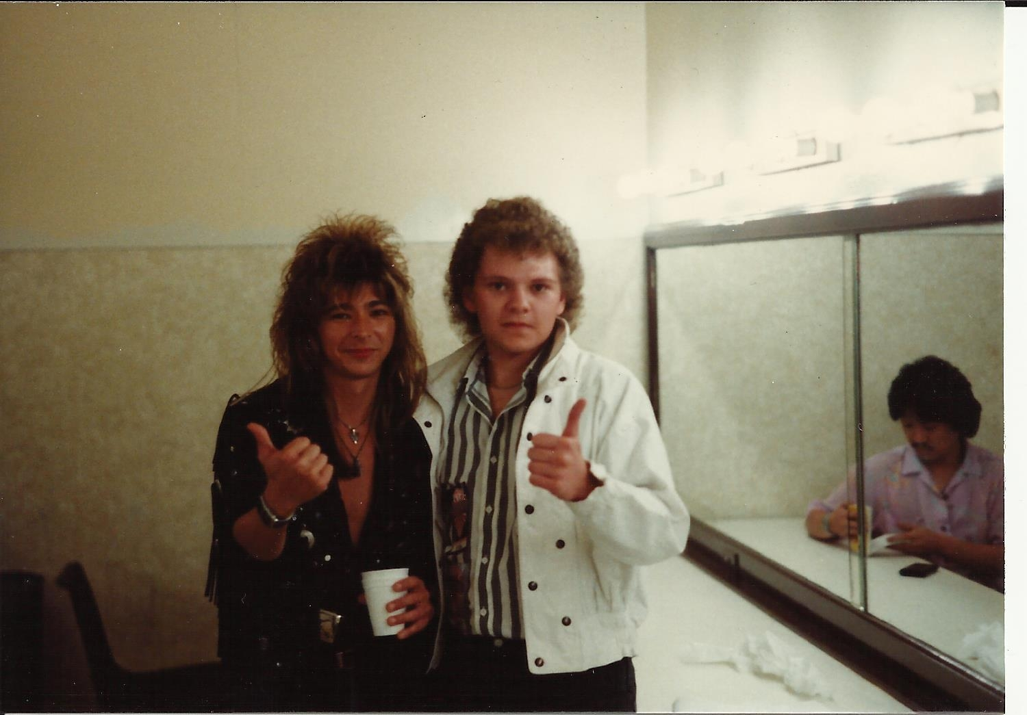 guitar player atomic tommy of ufo with  chris cady hypnotist