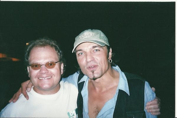 scorpions guitar player matthias jabbs and chris cady after a  concert